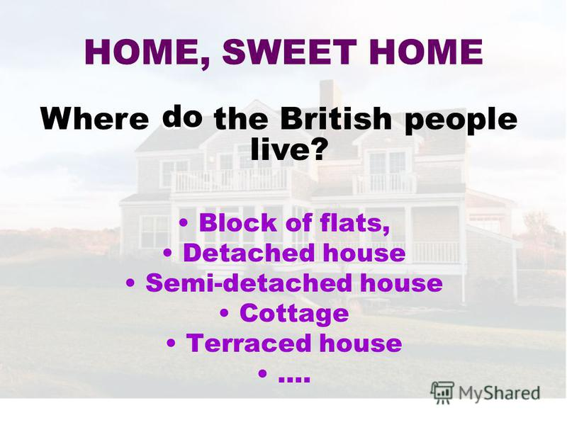 Block of flats, Detached house Semi-detached house Cottage Terraced housе …. HOME, SWEET HOME Where do the British people live? do