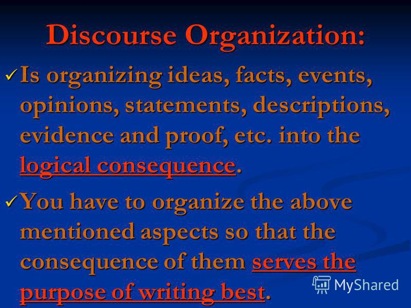 Discourse Organization: Is organizing ideas, facts, events, opinions, statements, descriptions, evidence and proof, etc. into the logical consequence. Is organizing ideas, facts, events, opinions, statements, descriptions, evidence and proof, etc. in