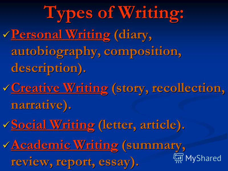 Types of Writing: Personal Writing (diary, autobiography, composition, description). Personal Writing (diary, autobiography, composition, description). Creative Writing (story, recollection, narrative). Creative Writing (story, recollection, narrativ