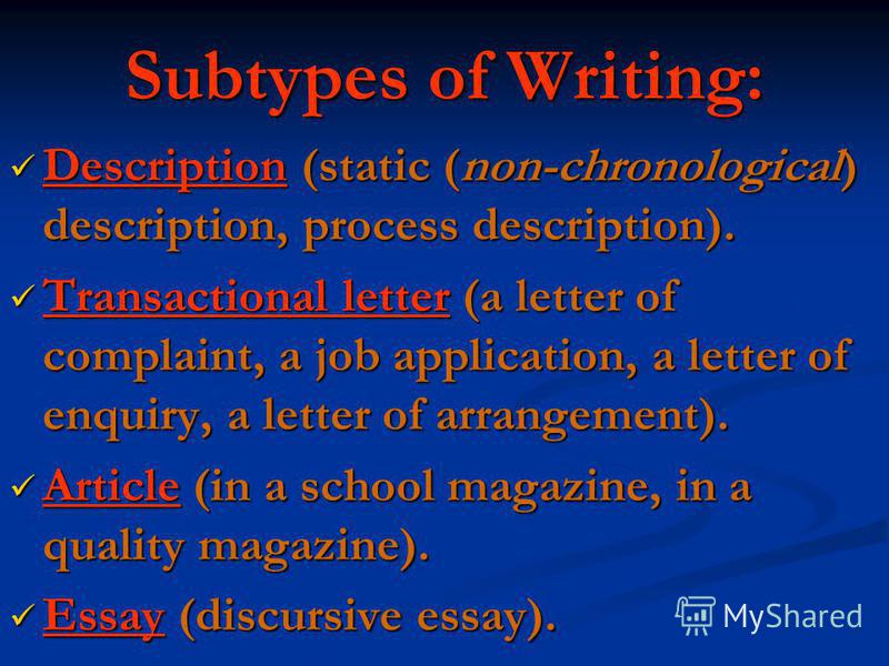 Subtypes of Writing: Description (static (non-chronological) description, process description). Description (static (non-chronological) description, process description). Transactional letter (a letter of complaint, a job application, a letter of enq