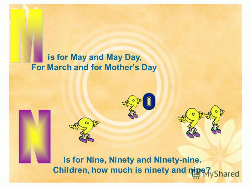 is for May and May Day, For March and for Mother's Day is for Nine, Ninety and Ninety-nine. Children, how much is ninety and nine?