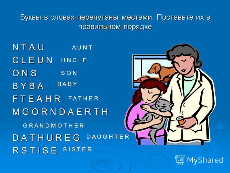 Допиши слова Тетя A u - - A u - -Сестра S – s t - - S – s t - - Мама M - t - e - Папа F a - - e - Брат - r o - h e - БабушкаG-an-m-th-- Дядя U - c - e Сын - - n