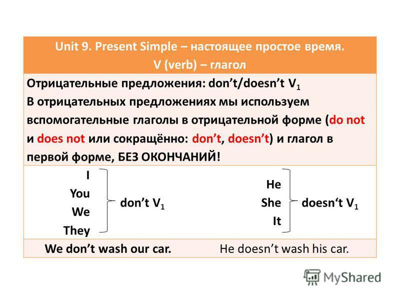 Unit 9. Present Simple – настоящее простое время. V (verb) – глагол Отрицательные предложения: dont/doesnt V 1 В отрицательных предложениях мы используем вспомогательные глаголы в отрицательной форме (do not и does not или сокращённо: dont, doesnt) и