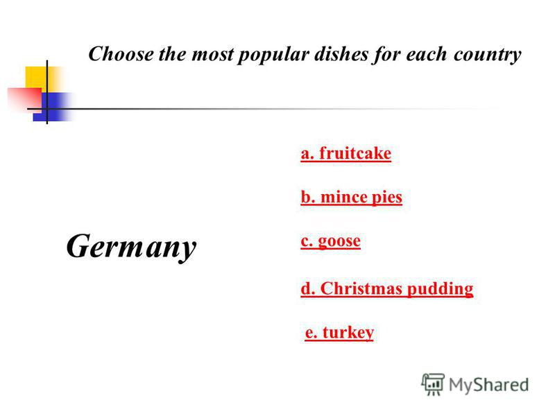 Choose the most popular dishes for each country Germany a. fruitcake b. mince pies c. goose d. Christmas pudding e. turkey