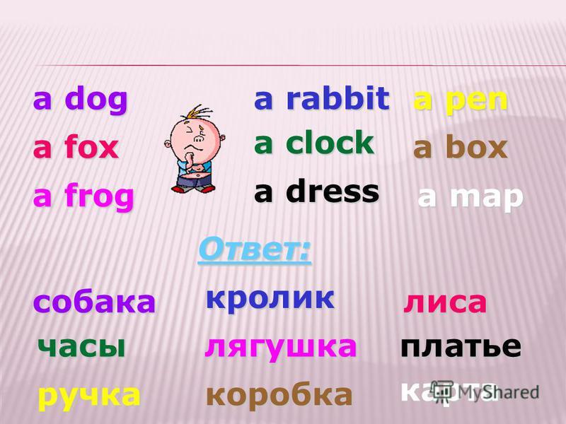 a doga rabbit a fox a clock a frog a dress Ответ: платье собака кролик лиса часы лягушка a pen ручка a box коробка a map карта