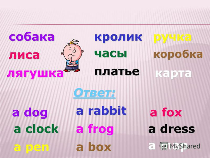 собака кролик лиса часы лягушка платье Ответ: a dress a dog a rabbit a fox a clocka frog ручка a pen коробка a box карта a map