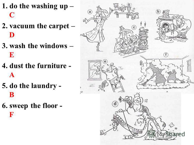 1. do the washing up – C 2. vacuum the carpet – D 3. wash the windows – E 4. dust the furniture - A 5. do the laundry - B 6. sweep the floor - F