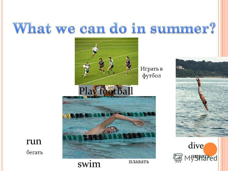 run Play football dive swim бегать нырять Играть в футбол плавать