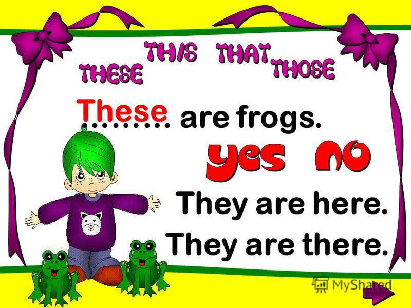 ……… are frogs. These They are here. They are there.