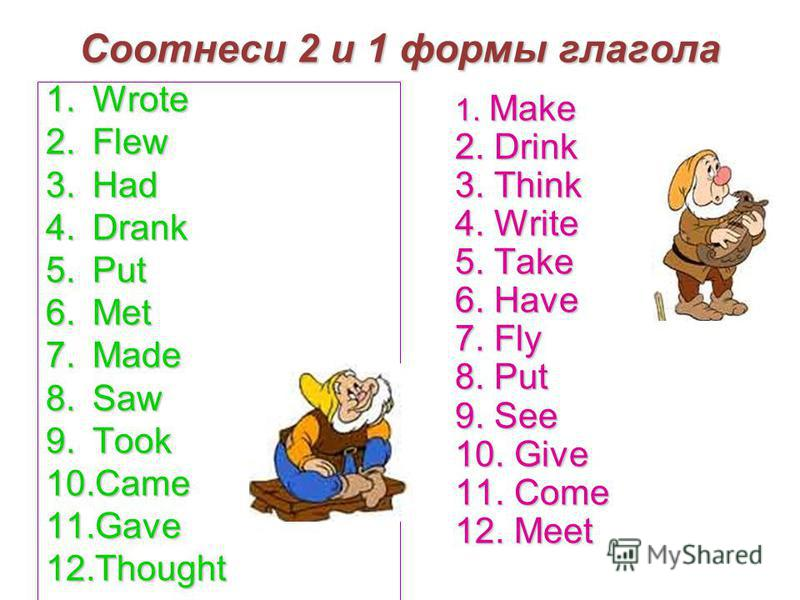 Соотнеси 2 и 1 формы глагола 1. Wrote 2. Flew 3. Had 4. Drank 5. Put 6. Met 7. Made 8. Saw 9. Took 10. Came 11. Gave 12. Thought 1. Make 2. Drink 3. Think 4. Write 5. Take 6. Have 7. Fly 8. Put 9. See 10. Give 11. Come 12. Meet