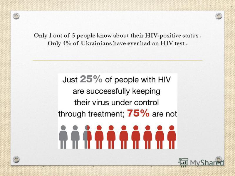 Only 1 out of 5 people know about their HIV-positive status. Only 4% of Ukrainians have ever had an HIV test.