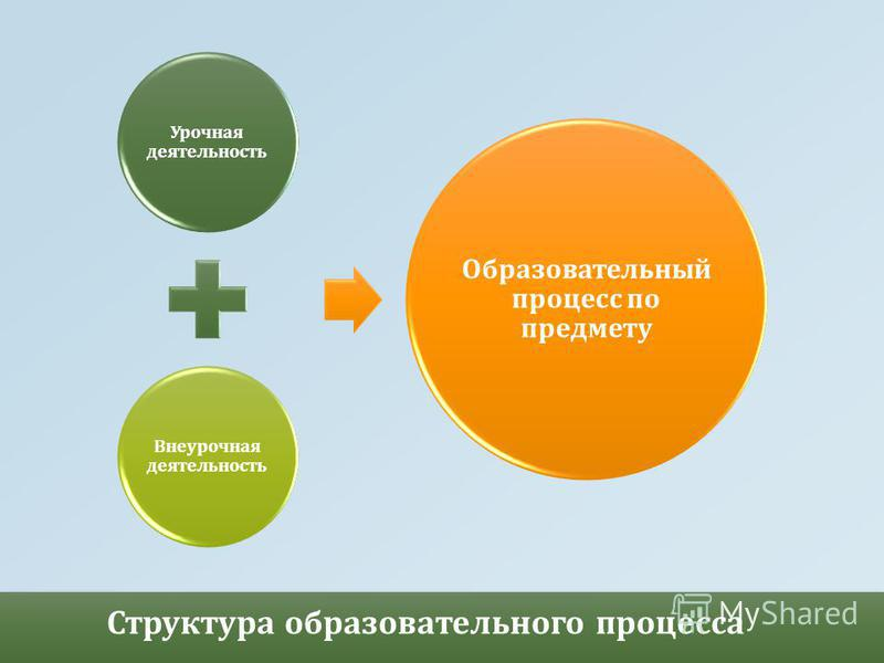 Структура образовательного процесса Урочная деятельность Внеурочная деятельность Образовательный процесс по предмету