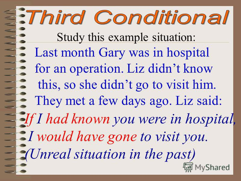 Study this example situation: Last month Gary was in hospital for an operation. Liz didnt know this, so she didnt go to visit him. They met a few days ago. Liz said: If I had known you were in hospital, I would have gone to visit you. (Unreal situati