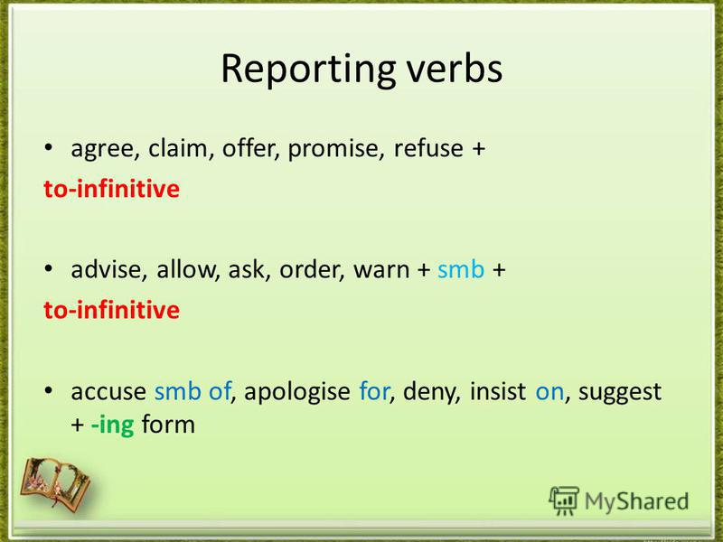 Reporting verbs agree, claim, offer, promise, refuse + to-infinitive advise, allow, ask, order, warn + smb + to-infinitive accuse smb of, apologise for, deny, insist on, suggest + -ing form
