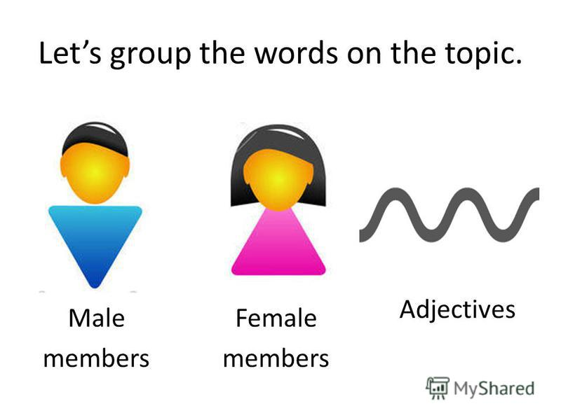 Lets group the words on the topic. Female members Male members Adjectives