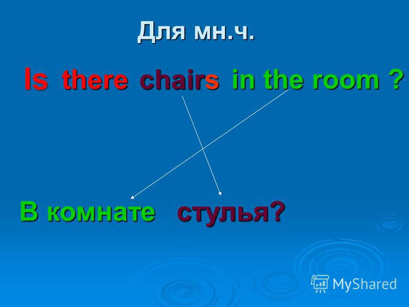 Для мн.ч. there chairs in the room ? В комнате стулья? Is