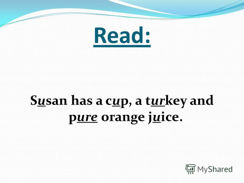 Read: Susan has a cup, a turkey and pure orange juice.