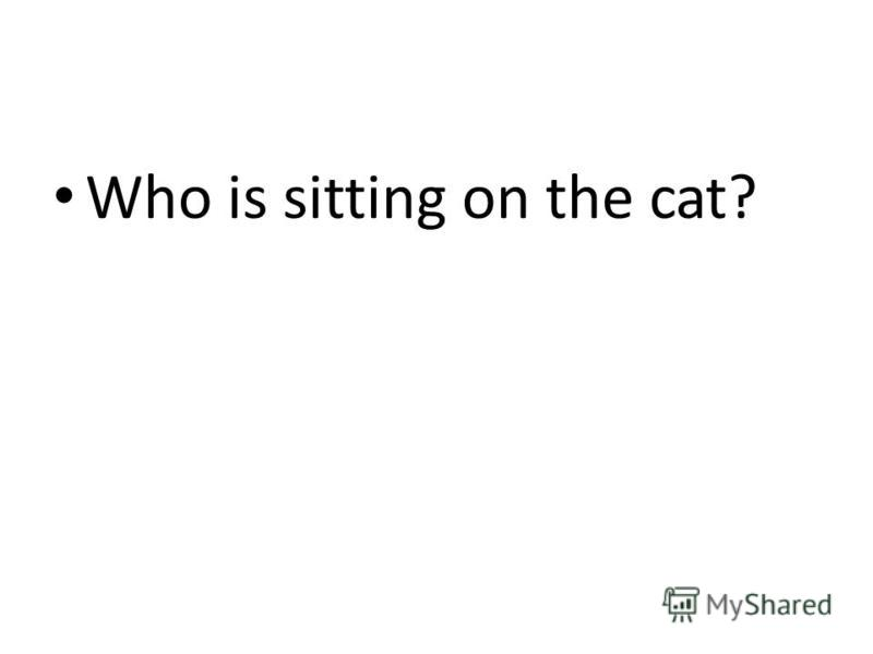 Who is sitting on the cat?