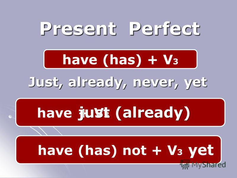 have (has) + V 3 Present Perfect Just, already, never, yet + V 3 have just (already) have (has) not + V 3 yet
