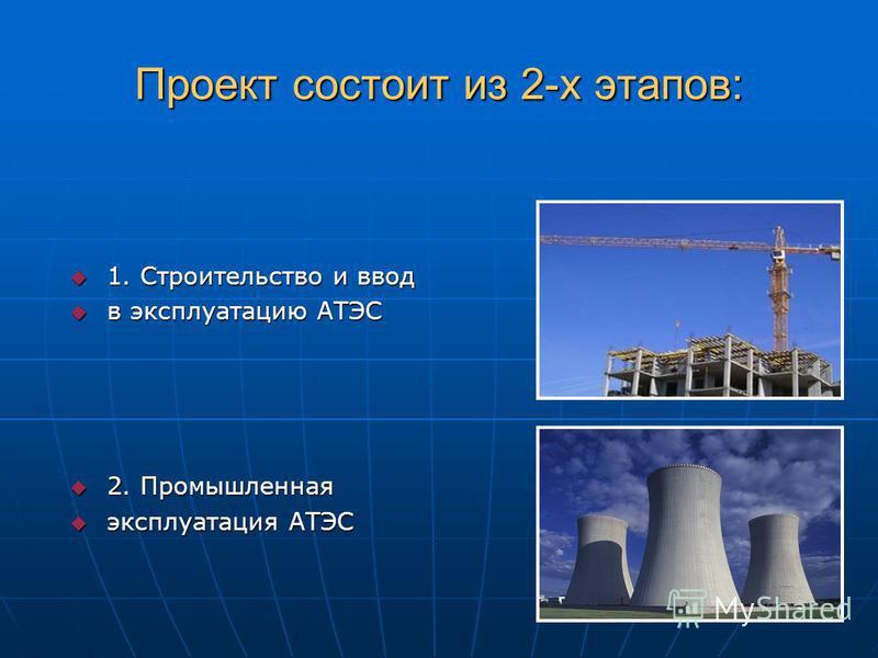 Проект состоит из 2-х этапов: 1. Строительство и ввод 1. Строительство и ввод в эксплуатацию АТЭС в эксплуатацию АТЭС 2. Промышленная 2. Промышленная эксплуатация АТЭС эксплуатация АТЭС