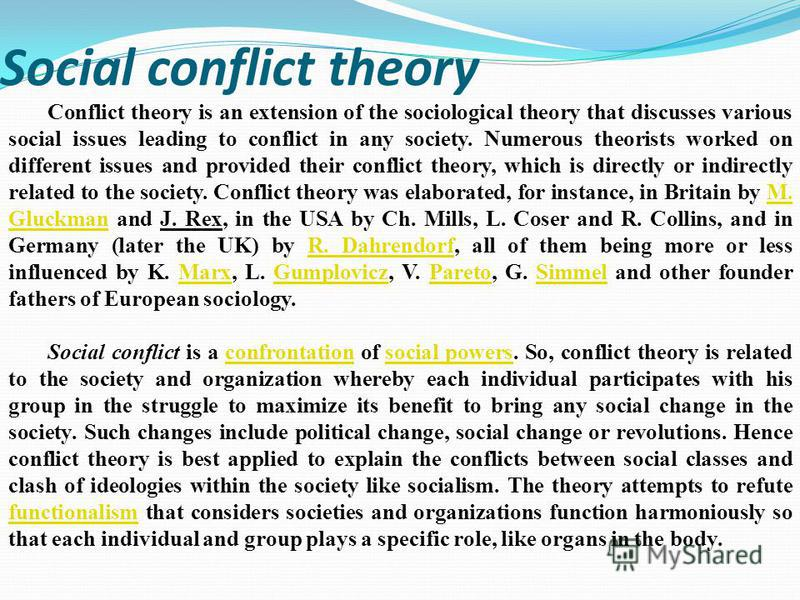 conflict theory and health care Conflict theory developmental theory game theory mindfulness and emotional regulation advanced conflict resolution theory, strategies intercultural issues, criminal justice, and health care.