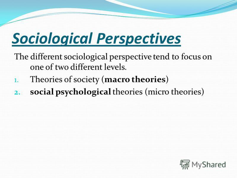 Sociological Perspectives The different sociological perspective tend to focus on one of two different levels. 1. Theories of society (macro theories) 2. social psychological theories (micro theories)