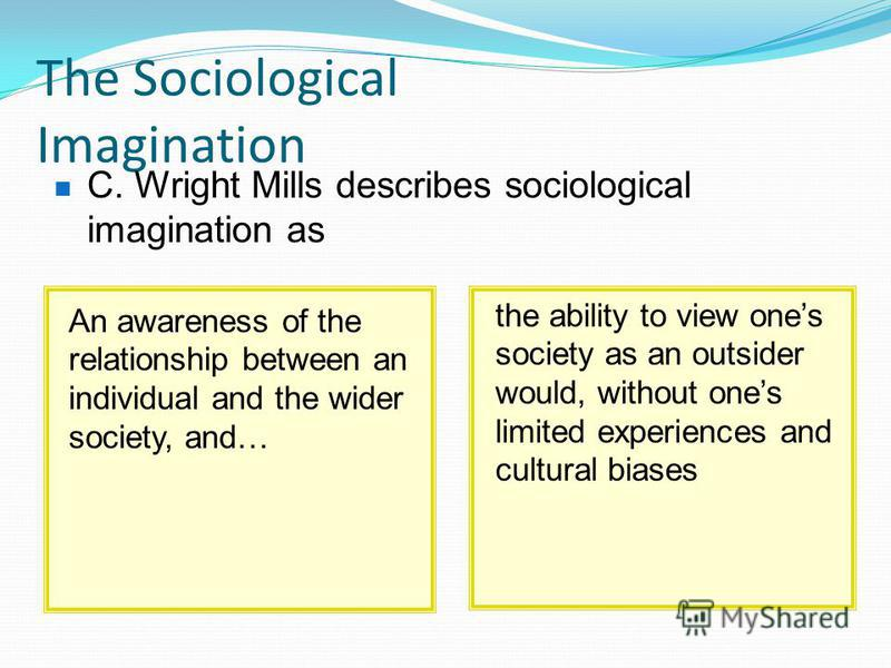 the ability to view ones society as an outsider would, without ones limited experiences and cultural biases An awareness of the relationship between an individual and the wider society, and… The Sociological Imagination C. Wright Mills describes soci