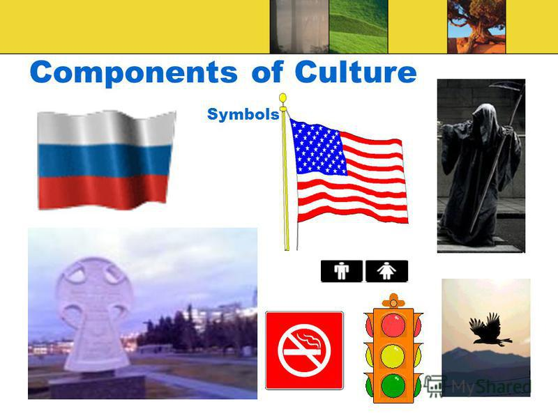 Components of Culture SYMBOLS: - Anything that stands for (or shared meaning attached to it) something else something to which people attach meaning and that they then use to communicate with one another (Henslin 2007a:39) - Any word, gesture, image,