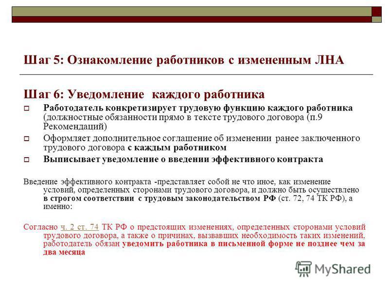 Шаг 5: Ознакомление работников с измененным ЛНА Шаг 6: Уведомление каждого работника Работодатель конкретизирует трудовую функцию каждого работника (должностные обязанности прямо в тексте трудового договора (п.9 Рекомендаций) Оформляет дополнительное