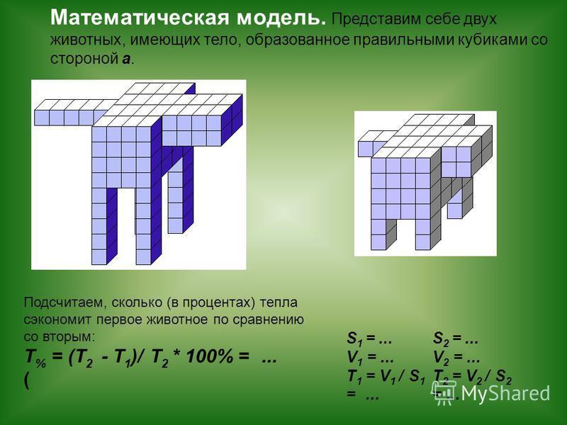 S 1 =... V 1 =... T 1 = V 1 / S 1 =... S 2 =... V 2 =... T 2 = V 2 / S 2 =... Математическая модель. Представим себе двух животных, имеющих тело, образованное правильными кубиками со стороной а. Подсчитаем, сколько (в процентах) тепла сэкономит перво