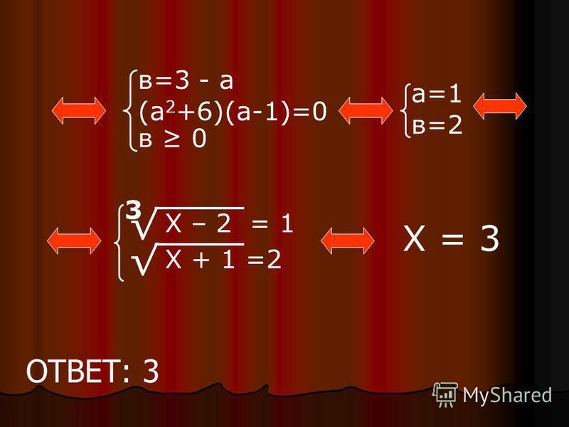 в=3 - а (а 2 +6)(а-1)=0 в 0 Х – 2 = 1 Х + 1 =2 3 Х = 3 а=1 в=2 ОТВЕТ: 3