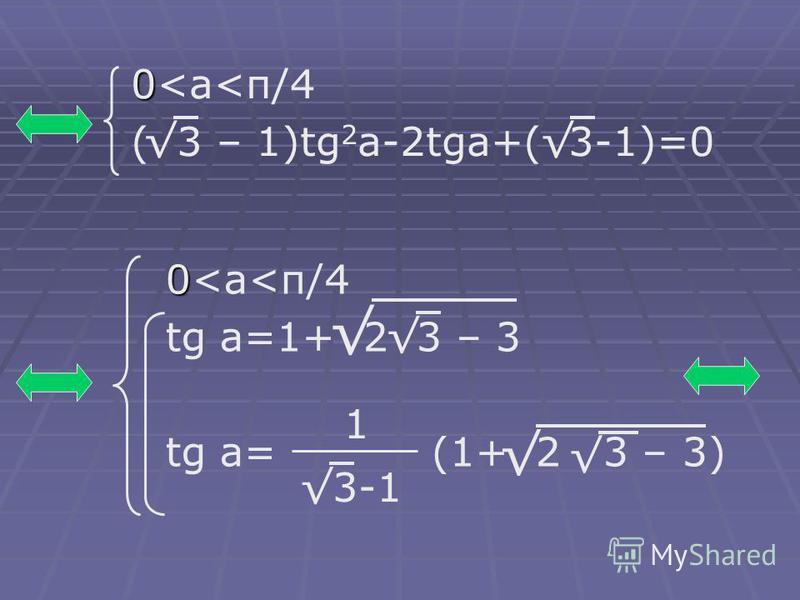 0 0<а<п/4 ( 3 – 1)tg 2 а-2tgа+( 3-1)=0 3-1 0 0<а<п/4 tg а=1+ 2 3 – 3 tg а= (1+ 2 3 – 3) 1