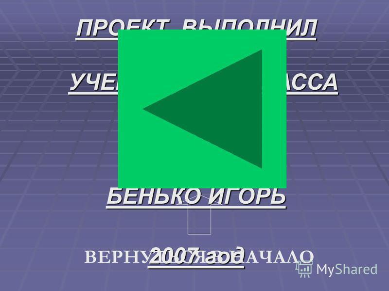 ПРОЕКТ ВЫПОЛНИЛ УЧЕНИК 11 «А» КЛАССА МОУ ШИЛИ БЕНЬКО ИГОРЬ 2007 год ВЕРНУТЬСЯ В НАЧАЛО
