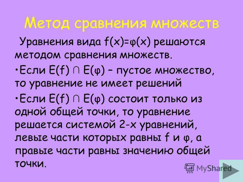 Метод сравнения множеств Уравнения вида f(x)=φ(x) решаются методом сравнения множеств. Если Е(f) E(φ) – пустое множество, то уравнение не имеет решений Если Е(f) E(φ) состоит только из одной общей точки, то уравнение решается системой 2-х уравнений,
