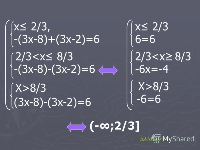 х 2/3, -(3 х-8)+(3 х-2)=6 2/3<x 8/3 -(3x-8)-(3x-2)=6 X>8/3 (3x-8)-(3x-2)=6 x 2/3 6=6 2/3<x 8/3 -6x=-4 X>8/3 -6=6 (-;2/3] ДАЛЕЕ >>>