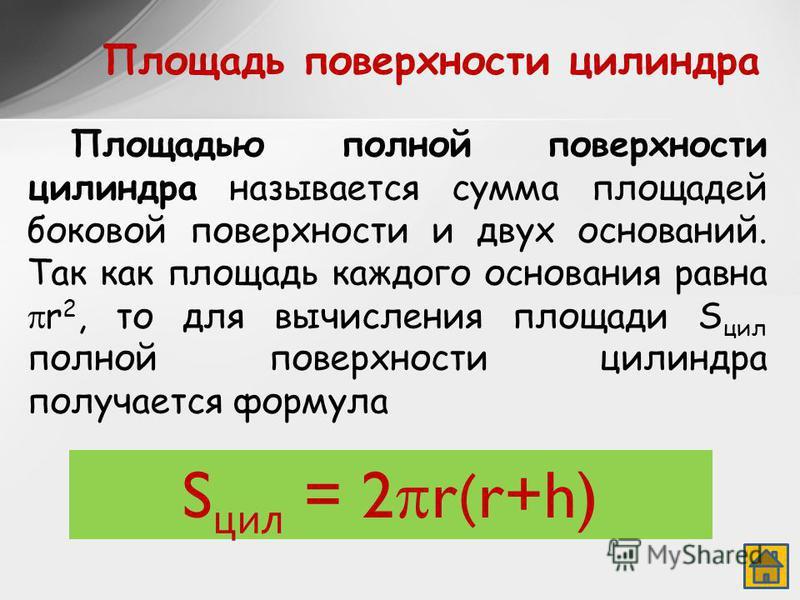 Площадь поверхности силиндра Площадью полной поверхности силиндра называется сумма площадей боковой поверхности и двух оснований. Так как площадь каждого основания равна r 2, то для вычисления площади S сил полной поверхности силиндра получается форм