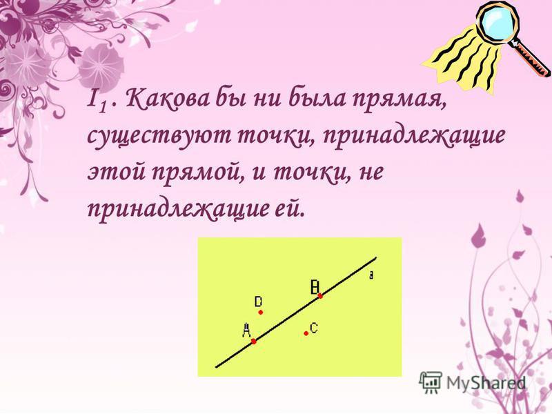 I 1. Какова бы ни была прямая, существуют точки, принадлежащие этой прямой, и точки, не принадлежащие ей.