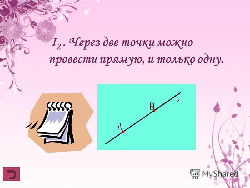 I 2. Через две точки можно провести прямую, и только одну.