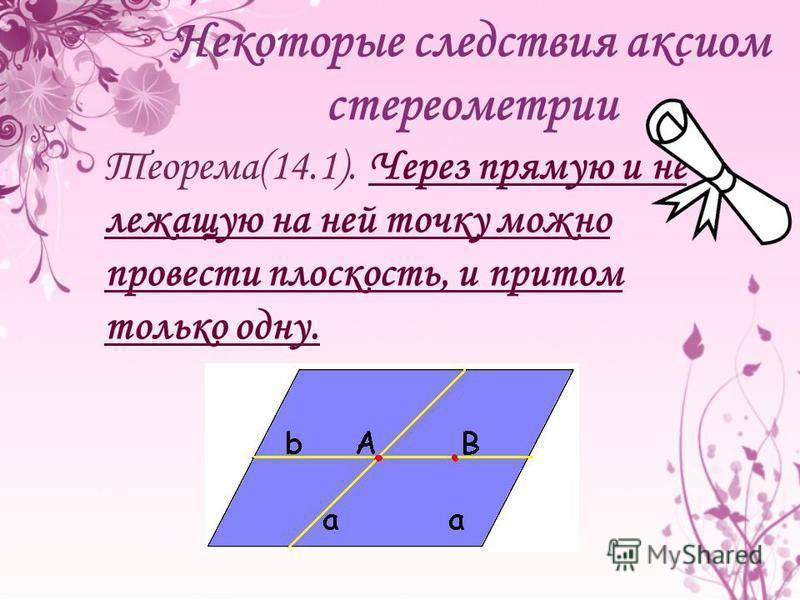 Теорема(14.1). Через прямую и не лежащую на ней точку можно провести плоскость, и притом только одну.