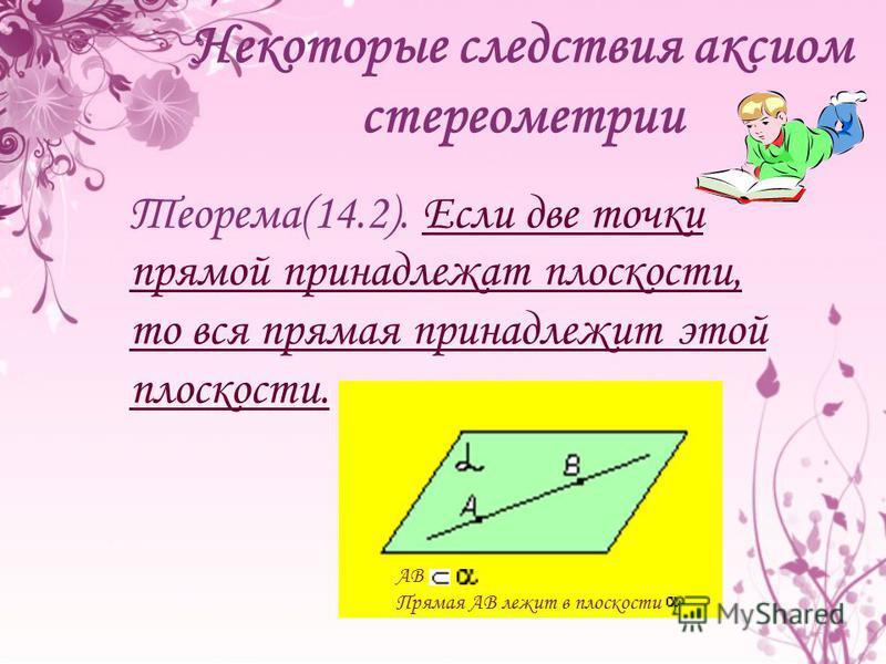 АB Прямая АВ лежит в плоскости Теорема(14.2). Если две точки прямой принадлежат плоскости, то вся прямая принадлежит этой плоскости. Некоторые следствия аксиом стереометрии