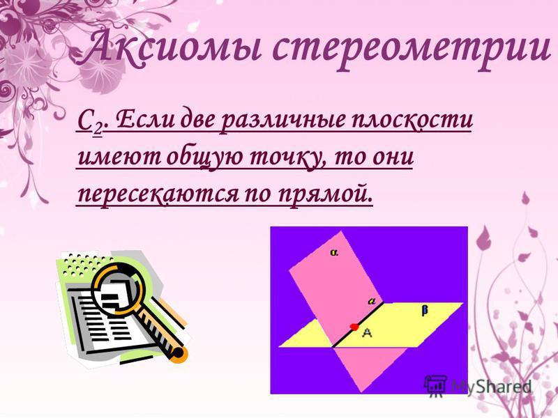 С 2. Если две различные плоскости имеют общую точку, то они пересекаются по прямой.