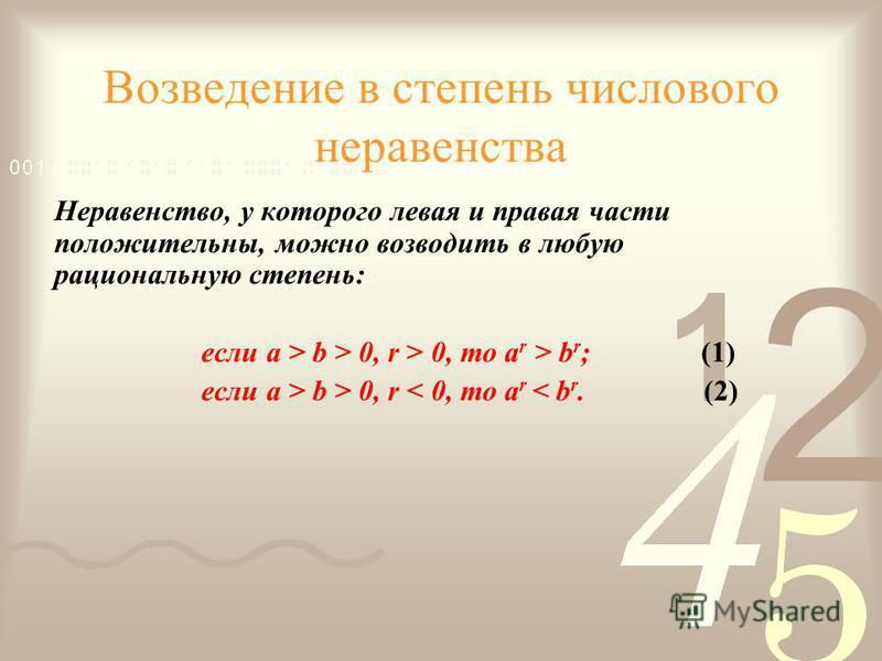 Возведение в степень числового неравенства Неравенство, у которого левая и правая части положительны, можно возводить в любую рациональную степень: если a > b > 0, r > 0, то a r > b r ; (1) если a > b > 0, r < 0, то a r < b r. (2)