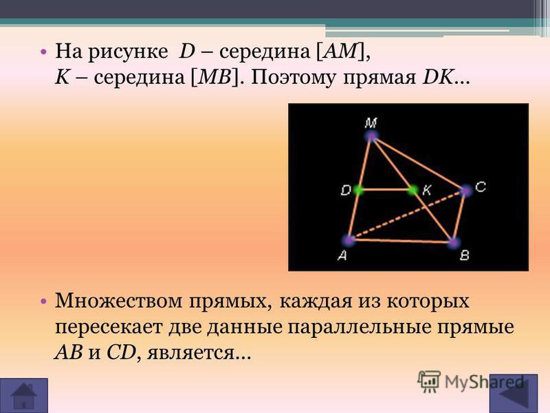На рисунке D – середина [AM], K – cеpединa [MB]. Поэтому прямая DK... Множеством прямых, каждая из которых пересекает две данные параллельные прямые AB и CD, является...
