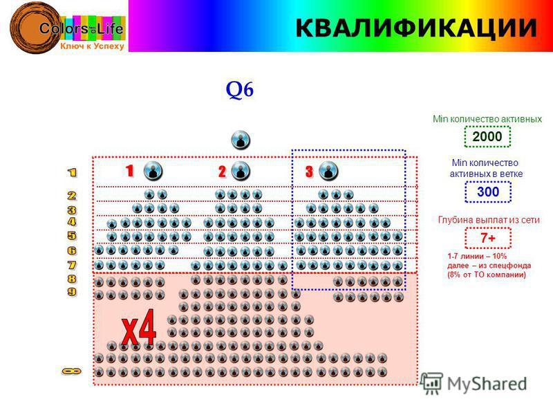 КВАЛИФИКАЦИИ Q6 2000 Min количество активных 300 Min количество активных в ветке 7+ Глубина выплат из сети 1-7 линии – 10% далее – из спецфонда (8% от ТО компании)