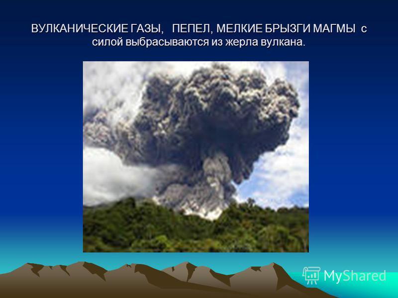 ВУЛКАНИЧЕСКИЕ ГАЗЫ, ПЕПЕЛ, МЕЛКИЕ БРЫЗГИ МАГМЫ с силой выбрасываются из жерла вулкана.