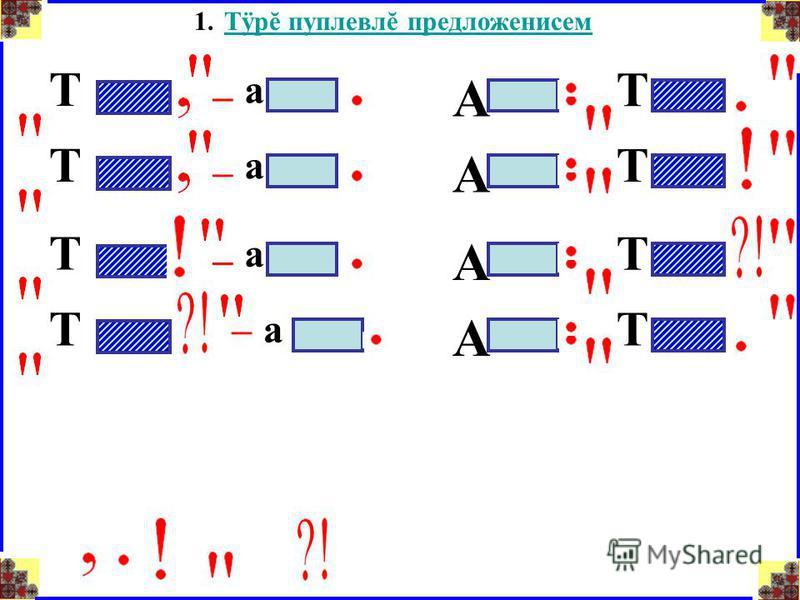 1.Тÿрĕ пуплевлĕ предложенисемТÿрĕ пуплевлĕ предложенисем Т – а А Т Т – а А Т Т – а А Т Т –а А Т