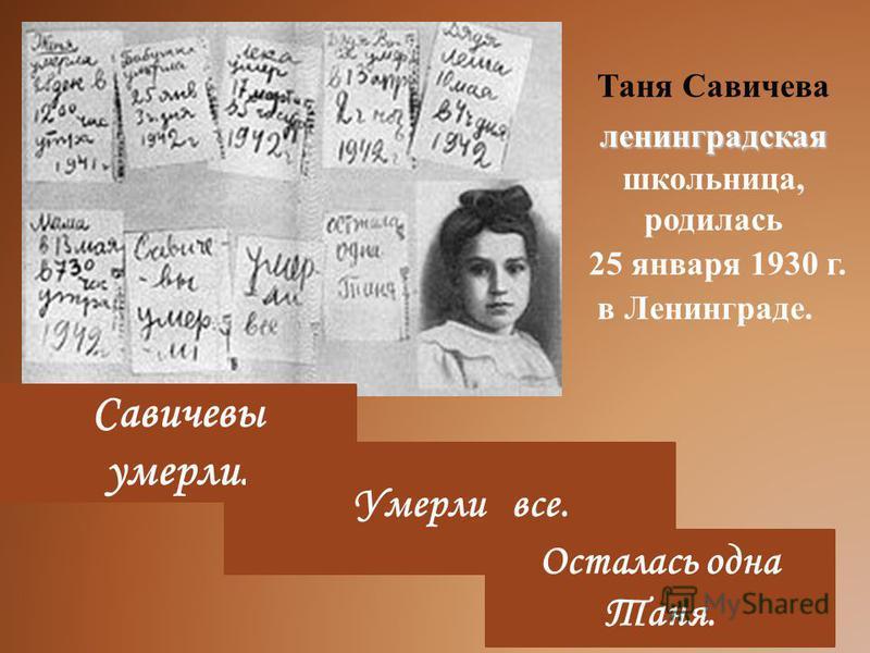ленинградская Таня Савичева ленинградская школьница, родилась 25 января 1930 г. в Ленинграде. 28 декабря 1941 года. Женя умерла в 12 часов утра. Бабушка умерла 25 января 1942 года, в 3 часа дня. Лёка умер 17 марта в 5 часов утра Дядя Вася умер 13 апр