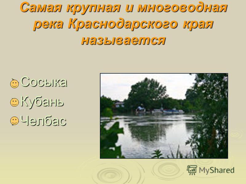 Самая крупная и многоводная река Краснодарского края называется Сосыка Сосыка Кубань Кубань Челбас Челбас