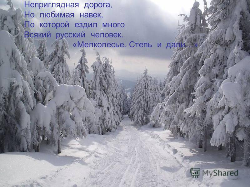 Неприглядная дорога, Но любимая навек, По которой ездил много Всякий русский человек. «Мелколесье. Степь и дали…»