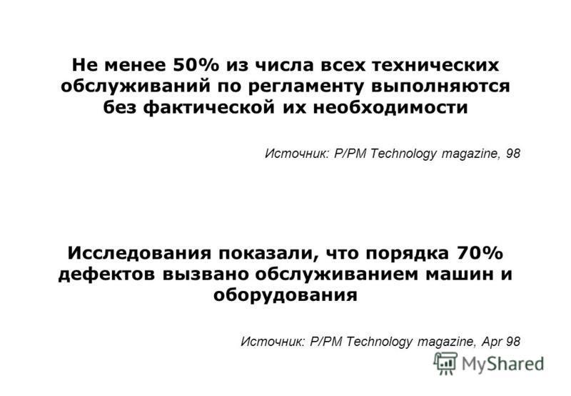 Не менее 50% из числа всех технических обслуживаний по регламенту выполняются без фактической их необходимости Источник: P/PM Technology magazine, 98 Исследования показали, что порядка 70% дефектов вызвано обслуживанием машин и оборудования Источник: